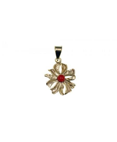 Pendentif Fleur Plaqué Or, perle en Corail