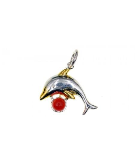 Pendentif Dauphin, perle en Corail