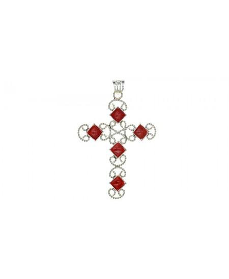 Pendentif Croix, losanges Corail