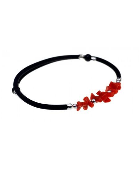 Bracelet 1/2 Pointes Corail en Argent