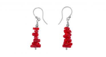 Red coral earrings with silver hook clasp