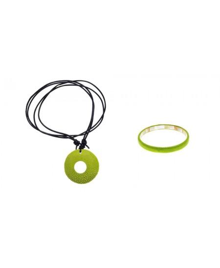 Parure bijoux Galuchat Vert