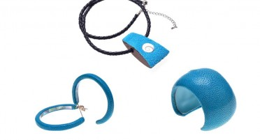 Parure bijoux Galuchat Bleu