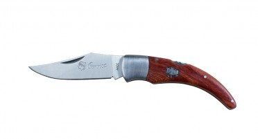 Corsican shepherd's knife - steel miter and Arbutus wood handle with wild boar - 18 cm open