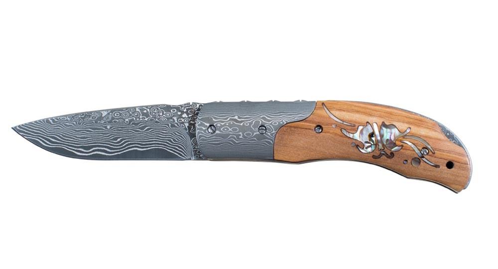 Couteau Corsica avec manche en Olivier et Nacre - mitre et lame Damas