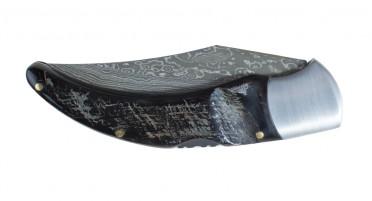 Couteau de berger Corse - manche en Corne de Buffle brut et lame Damas