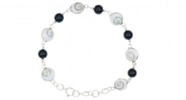 Corsican bracelet with Shiva eye, Onyx beads on silver chain
