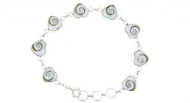 Bracelet Corse avec œil de Shiva en forme de petits cœurs - Argent