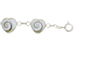 Bracelet Corsica with eye of Shiva in shape of small hearts - Silver