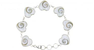 Bracelet Corse avec œil de Shiva en forme de  Cœur - Argent