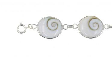 Corsican bracelet with oval Shiva eye - Silver