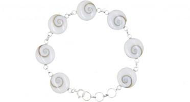 Bracelet Corsica with eye of Shiva round - Silver