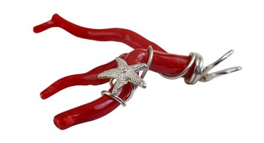 Coral Bonifacio pendant with starfish - Silver