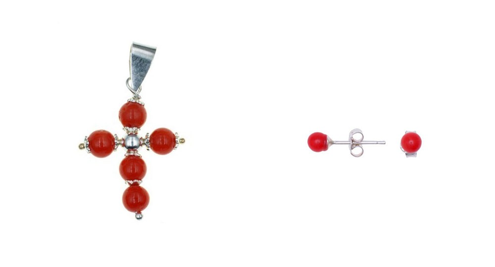 Coral Pearl Cross Pendant with Matching Nail Earrings