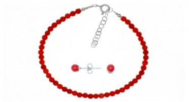 Bracelet and matching earrings in red coral pearls