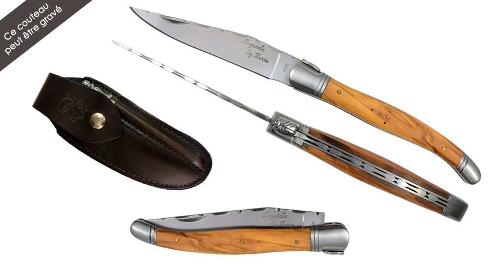 Ensemble couteau Laguiole en bois d'Olivier avec étui en cuir et mini-fusil