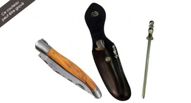 Laguiole knife set in olive wood with leather case and mini-rifle