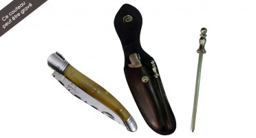 Laguiole knife set in Aries horn with leather case and mini-rifle