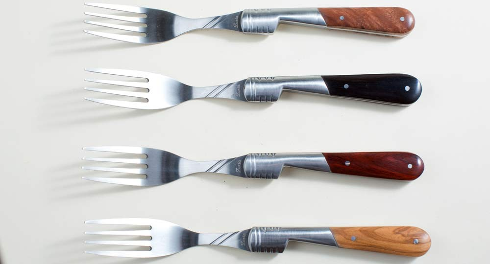 Table forks with 6 handles in variegated wood