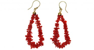 Bonifacio Coral and Gold plated earrings