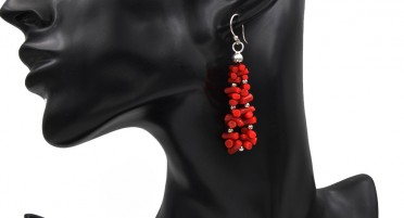 Coral and silver pearl earrings