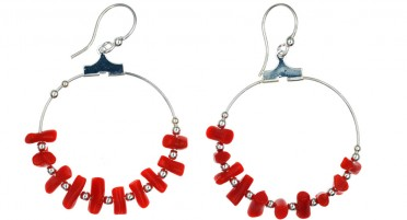 Silver Hook and Bonifacio' Coral  Earrings