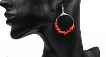 Silver Hook and Bonifacio' Coral  Earrings