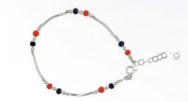 Bracelet Corail, Onyx et Argent