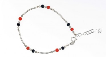 Coral, Onyx and Silver Bracelet