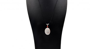 Necklace with Eye of St. Lucia, Coral pearl on black cord