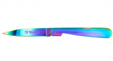 Multicolored Vendetta folding knife - lock-back