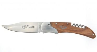 Couteau Corsica en Chêne avec tire-bouchon et système Push button