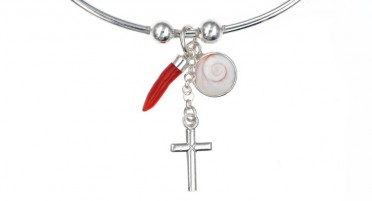 Bracelet Jonc avec 3 Charms : Corail, œil de Sainte Lucie et croix en Argent
