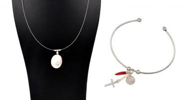 Parure de bijoux avec l'œil de Sainte Lucie et Argent : collier et bracelet jonc