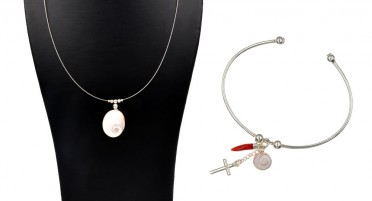 Jewelry set with the eye of Saint Lucia and Silver: necklace and bangle bracelet