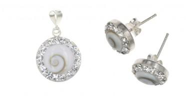 Parure de bijoux avec l'œil de Shiva : pendentif et boucles d'oreilles en Argent