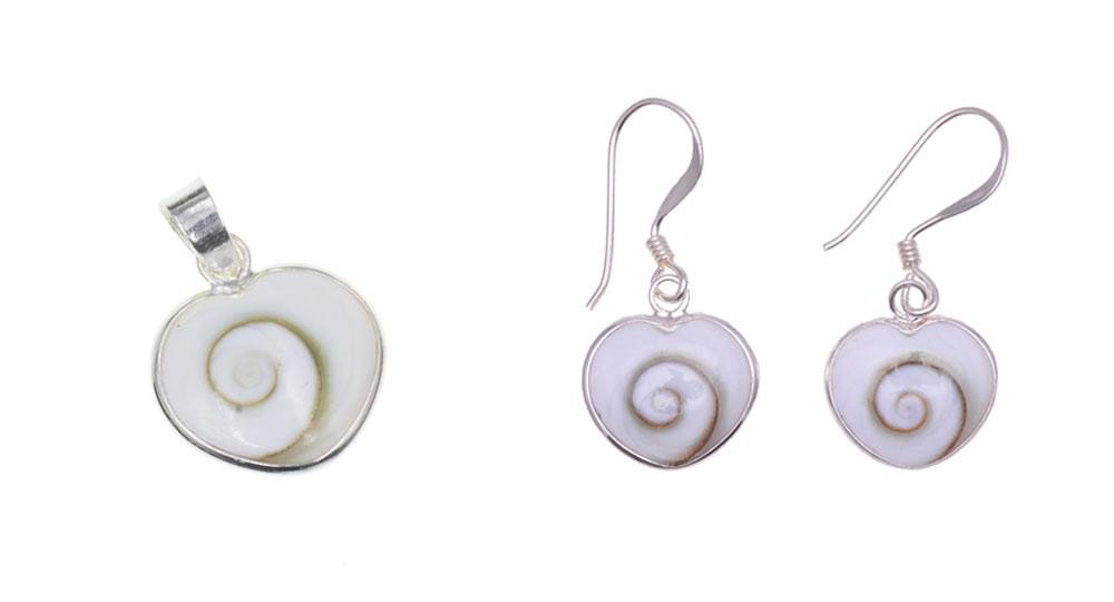 Parure bijoux avec l'œil de Shiva en forme de cœur et en Argent