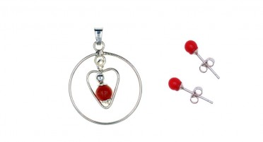 Bonifacio Coral Pearl Jewelry Set and Silver