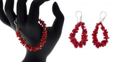 Bonifacio Coral jewelry set - bracelet and earrings