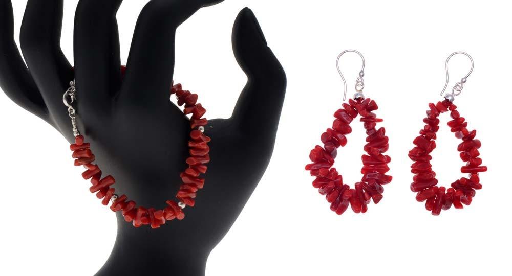 Parure bijoux en Corail de Bonifacio - bracelet et boucles d'oreilles