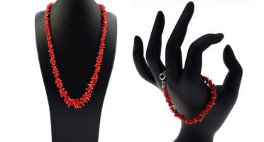 Parure de bijoux en Corail de Bonifacio et Argent : Collier et bracelet