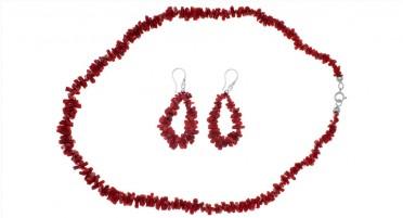 Parure de bijoux en Corail rouge et Argent - Collier et boucles d'oreilles