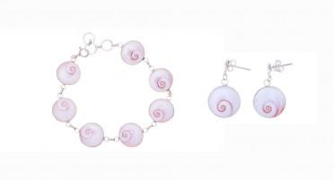 Parure de bijoux avec l'œil de Ste Lucie et Argent - Bracelet et boucles d'oreilles