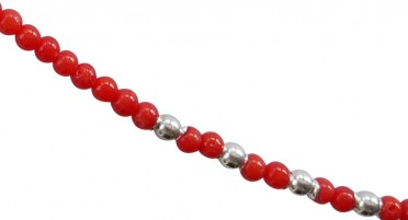Necklace in red Coral beads and Silver beads - Silver clasp