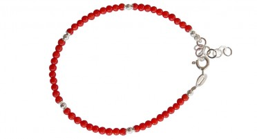 Bonifacio Coral Bead Bracelet and Silver Beads - Silver clasp