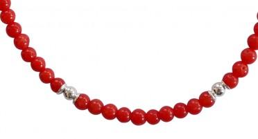 Bonifacio Coral Bead Bracelet and Silver Beads - Silver clasp