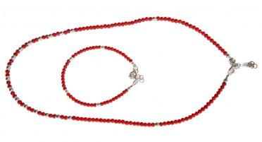 Parure de bijoux en perles de Corail et Argent- Collier et bracelet