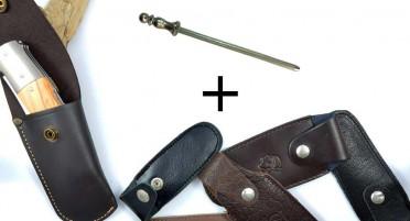 Etui cuir pour couteau pliant + aiguiseur
