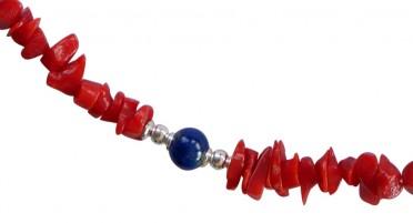 Collier en Corail rouge  et perles Lapis Lazuli - Fermoir en Argent