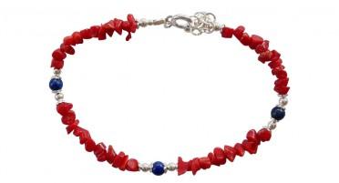 Bracelet en éclat de Corail et perles de Lapis Lazuli - fermoir en Argent